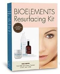 Bioelements Resurfacing Kit 4 piece by Bioelements. $140.00. Smoothes, softens and boosts radiance and suppleness. Formulas are moisturizing and rich in antioxidants. Exfoliates and renews dull skin. Visible results after only one application. Suitable for all skin types in need of rejuvenation. This four step kit includes high-quality formulas to rid the skin of dead skin cells, resulting in a bright, rejuvenated appearance. With just two applications per week, the skin ...