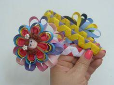 Tutorial Diademas forradas con cinta de 6 colores diferentes,faciles vinchas tejidas - YouTube