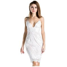 Sexy White Lace Halter Midi Dress LAVELIQ