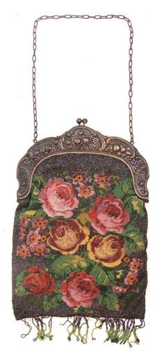 Stunning Antique Micro Beadwork Floral Handbag Repousse Nickel Silver Frame   eBay