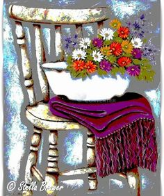 Stella Bruwer white enamel basin with summer flowers on purple throw on shabby white chair♥🌸♥ Painting & Drawing, Watercolor Paintings, Stella Art, Guache, Country Paintings, Egyptian Art, White Enamel, Pretty Art, Paisajes