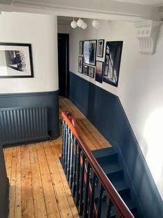 Tiled Hallway, Hallway Wall Decor, Hallway Flooring, Upstairs Hallway, Hallway Walls, Modern Hallway, Hallways, Dado Rail Hallway, Dark Hallway