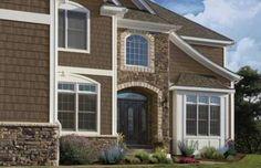 House Siding Colors: Dark Brown Cedar with Stone Footing