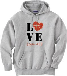 Personalized Basketball Mom Hoodie.  Basketball by PinkPigPrinting