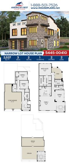 Full of dramatic appeal, Plan 5445-00410 details a Narrow Lot design with 2,537 sq. ft., 3 bedrooms, 2.5 bathrooms, a kitchen island, an open floor plan, and a bonus room. #narrowlothome #european #architecture #houseplans #housedesign #homedesign #homedesigns #architecturalplans #newconstruction #floorplans #dreamhome #dreamhouseplans #abhouseplans #besthouseplans #newhome #newhouse #homesweethome #buildingahome #buildahome #residentialplans #residentialhome Narrow Lot House Plans, Best House Plans, Dream House Plans, Sims Ideas, Story House, City Living, Open Floor, New Construction, Square Feet