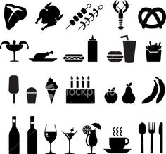 food black and white icon set Royalty Free Stock Vector Art Illustration
