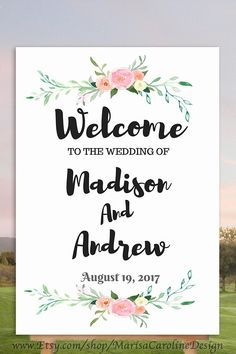 Welcome to our wedding sign, floral wedding sign blush, blush wedding inspiration, greenery, wedding ideas, easy DIY printing.