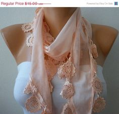 Salmon Scarf   Cotton  Scarf   Cowl with Lace Edge    by fatwoman, $13.50