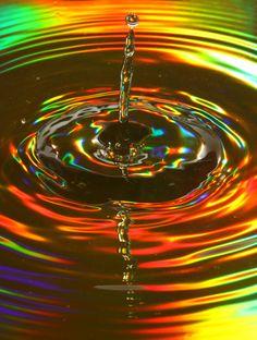 rainbow reflected water