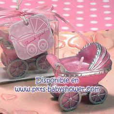 Recuerdos para Baby Shower - Vela Carriola Rosa - Disponible en www.pkts-babyshower.com