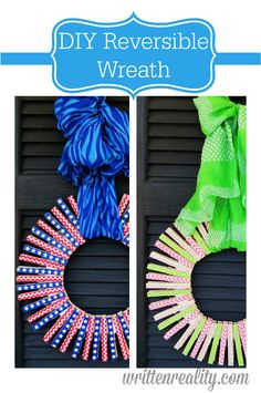 Here's a DIY Reversible Wreath that's inexpensive and SUPER EASY to make!