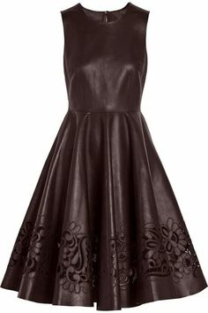 Dolce & Gabbana Cutout Leather Dress Dolce & Gabbana's burgundy dress is deftly tailored from supple Italian lamb leather. Red Leather Dress, Leather Dresses, Red Floral Dress, Burgundy Dress, Dress Red, Floral Dresses, Short Fitted Dress, Short Dresses, Fitted Dresses