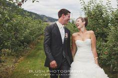 Orchard DIY wedding. Wedding poses for bride and groom. Candid walking photography.  http://www.photosbyblush.com/blog