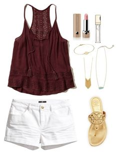 """""""SUMMER // Caroline"""" by threedirection ❤ liked on Polyvore featuring Hollister Co., H&M, Tory Burch, Sam Edelman, Kendra Scott, Marc Jacobs, Clarins and 3direction"""