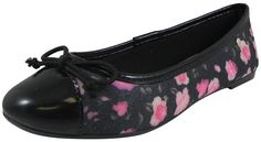 Pampili Girl's Black Canvas Floral Polka Dot Ballet Flat Shoe Black