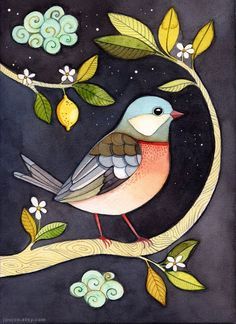 Fine art print Art Print Watercolor  Bird in lemon by joojoo, $20.00