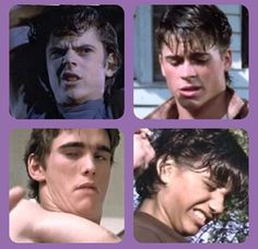 Those are the hottest faces I've ever seen XD<<damn straight 😝 The Outsiders Cast, The Outsiders Quotes, The Outsiders Imagines, Wtf Face, Weird Face, The Outsiders Preferences, Good Movies, 80s Movies, Dallas Winston
