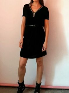 NWT Massimo Dutti Silk Blend Rhinestones Neck Dress Tunic With Leather Belt #massimodutti
