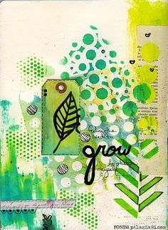 """Ronda Palazzari Grow Art Journal - using the Balzer Designs """"Herringbone Stencil"""""""