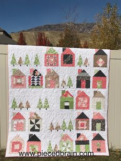 My version of the Dwell Quilt with super cool  house blocks and trees. Pieced Brain: Dwell House Quilt