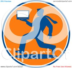 orange and blue logos | Royalty-Free (RF) Clipart Illustration of a Blue And Orange Logo ...