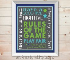 Rules of the Game Typography Art Print Boys Room Wall Decor Sports Decor or custom colors Athletic Wall decor Nursery Decor Game Room Decor, Nursery Wall Decor, My New Room, Typography Art, Art Prints, Wall Art, Sports Decor, Team Mom, Offices