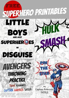 Fun comic book inspired superhero printables, perfect for your next party.
