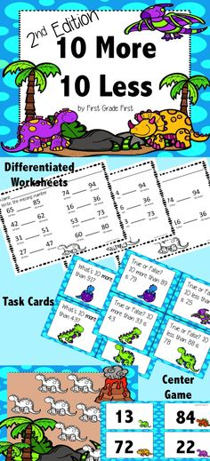Worksheets, Task Cards, and a Center to practice finding 10 more and 10 Less than a number. Perfect for firsties!