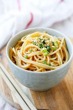 Garlic Sesame Noodles - Asian-flavored spaghetti with soy sauce, oyster sauce, garlic and sesame. Easy and delicious recipe that takes 15 mins to make | rasamalaysia.com