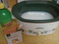 Use your crock pot for a heavy duty air freshening. In-laws coming? Been cooking with fish or onion? Try this trick!