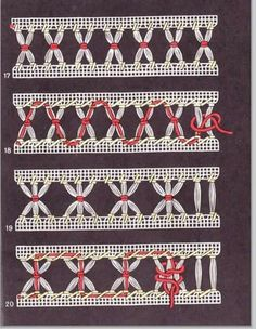 Sewing Stitches, Hand Embroidery Stitches, Silk Ribbon Embroidery, Embroidery Techniques, Embroidery Designs, Hem Stitch, Swedish Weaving, Drawn Thread, Hardanger Embroidery