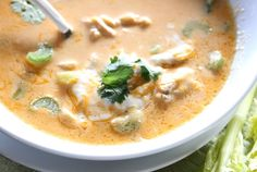 Low Carb Buffalo Chicken Soup ◾6 cups chicken stock  ◾8 ounces cream cheese  ◾2/3 cup favorite Buffalo Sauce  ◾1/2 cup milk  ◾1/2 cup heavy cream  ◾6 tablespoons butter  ◾Salt and pepper  ◾1 rotisserie style chicken, meat chopped  ◾1/3-1/2 cup chopped celery  ◾Cilantro, as desired  ◾Ranch or bleu cheese dressing  ◾Shredded cheese, if desired