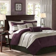 Madison Park Palmer 7-Piece Queen Comforter Set in Plum