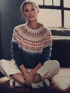 Fair Isle Knitting Patterns, Knitting Designs, Norwegian Knitting, Creative Knitting, Mode Outfits, Pulls, Dressmaking, Knitwear, Knit Crochet