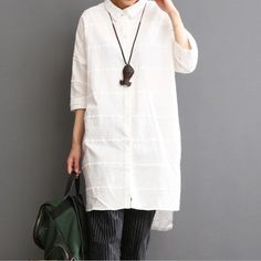 2016 linen dress summer white dress plus size sundressThis dress is made of cotton linen fabric, soft and breathy, suitable for summer, so loose dresses to make you comfortable all the time.Measurement: One Size: Length front 89cm / 34.71