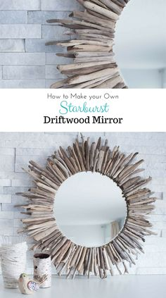 A beautiful rustic round mirror framed by pieces of driftwood. Check out the…