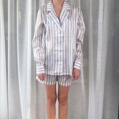 Paris Grey Striped Pure Silk Pyjamas by AlexandriaMain on Etsy