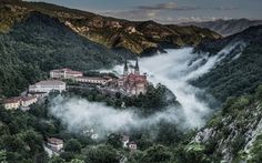 Spain, mountains, valley, Basilica de Santa Maria la Real, Picos de Europa, Asturias, Covadonga