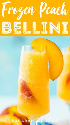 Peach Bellini Slushies recipe is a frozen take on the classic brunch cocktail! Made in the blender with just 4 ingredients, this easy champagne cocktail is a refreshingly boozy beverage to enjoy all summer. Peach Drinks, Brunch Drinks, Summer Drinks, Peach Schnapps Drinks, White Peach Sangria, Mango Drinks, Peach Bellini Recipe, Frozen Peach Bellini, Happy Hour