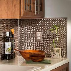 Shop for Fasade Terrain in Brushed Nickel Backsplash 18 square feet kit. Get free delivery On EVERYTHING* Overstock - Your Online Home Improvement Shop! Backsplash Panels, Kitchen Backsplash, Vinyl Backsplash, Backsplash Ideas, Kitchen Cabinets, Stone Backsplash, Kitchen Countertops, Vinyl Wall Panels, Ceiling Panels