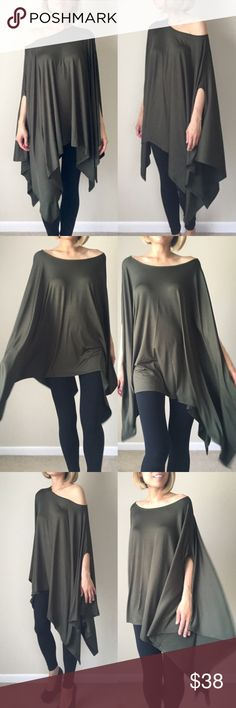 "Versatile tunic slip poncho Versatile tunic poncho .. Multi ways to wear it. Made of Rayon and spandex material . Non sheer or see they fabric. Good quality well made. Length 34""s CHICBOMB Tops Tunics"