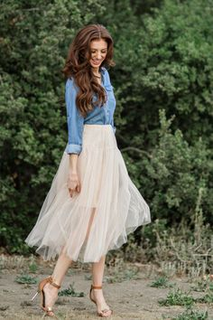 Tulle Skirts for Women, Engagement Shoot Outfit Ideas, Tulle Midi Skirts