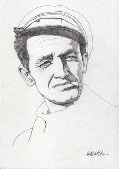 Woody Guthrie - Original Signed Paul Nelson-Esch - Drawing Art Illustration - Free Worlwide Shipping