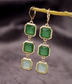 Sea Green Artificial Gemstone Dangle Earrings $5.98