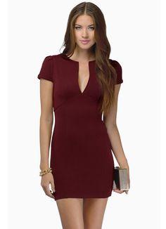 Wine Red Short Sleeve V Neck Bodycon Dress 20.69
