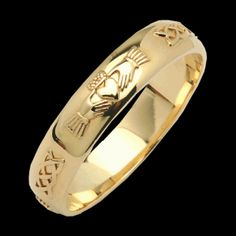 Narrow Beveled Corrib Claddagh Wedding Band