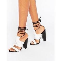 Missguided Tie Ankle Strap Block Heel