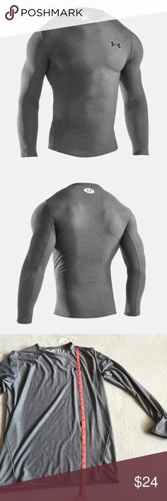 MENS UNDERARMOUR Gray LongSleeve Compression Shirt Preloved. Used once.  Washed and ready to be yours.  The perfect gray color. Make this your favorite lounge shirt or working out shirt!  Pairs well with black shorts or pants.   82% Polyester, 18% Elastane.   Please see photos for measurements.   Feel free to make an offer via offer button only.  NO TRADES. Under Armour Shirts Tees - Long Sleeve