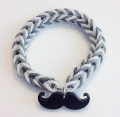 Rainbow Loom Fishtail Rubber Band Bracelet with a Mustache charm by BCsBracelets