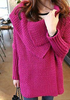Batwing Sweater Coat - Plum - Chunky Knit Sweater Moda Actual ccfe8900430